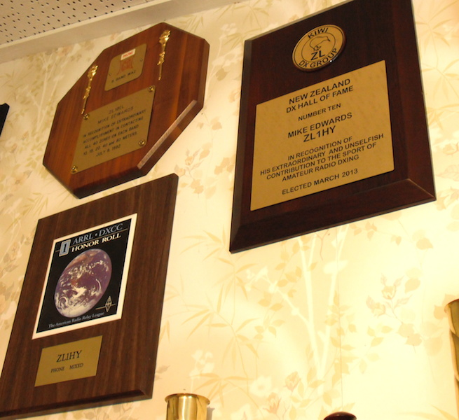 NZ DX Hall of Fame plaque to the right of No1. Honour Roll Plaque