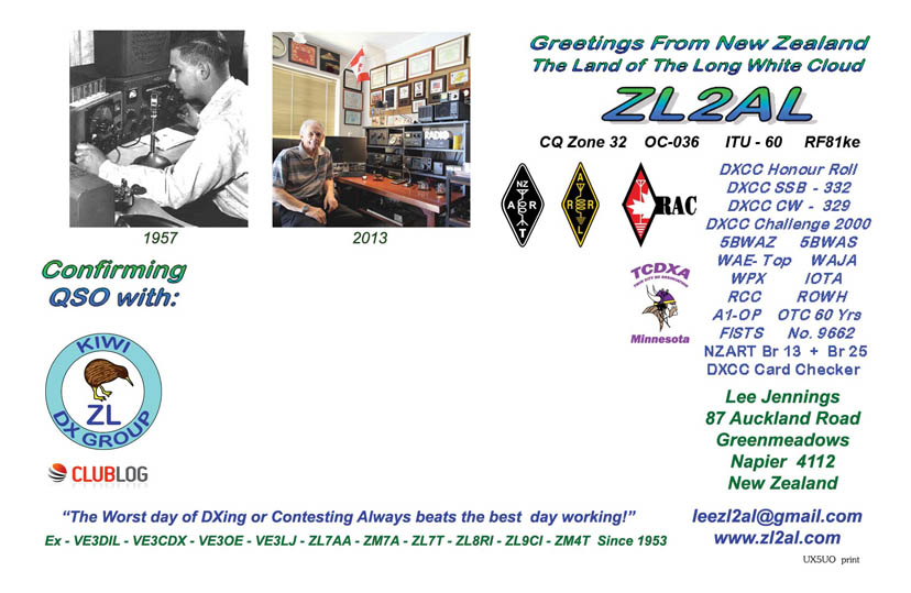 Latest ZL2AL design using a very old MS Publisher graphics program. This is the back of the card. Front is not shown.
