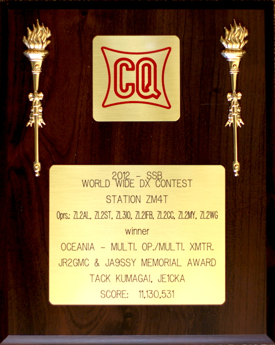 We won the CQWW Plaque for achieving #1 in Oceania in 2012