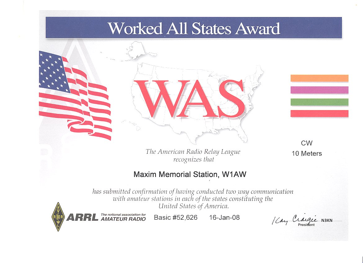The WAS (Worked All States Certificate)
